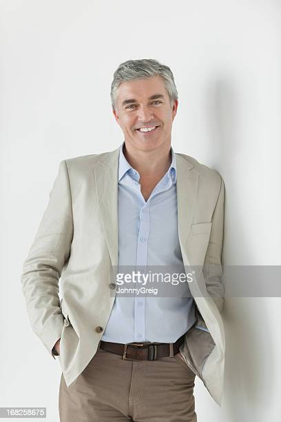 businessman - relaxed and confident - handsome 50 year old men stock photos and pictures
