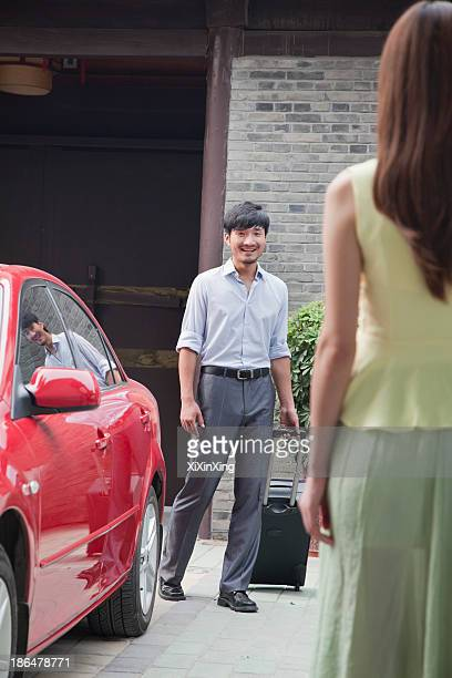Businessman Returns Home from His Trip