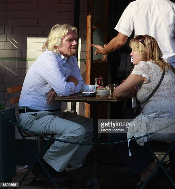 Businessman Richard Branson and wife Joan Templeman seen dining at Pastis restaurant in the Meat Packing district of Manhattan on October 9, 2008 in...