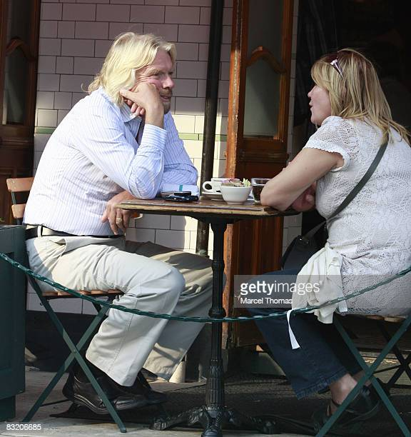 Businessman Richard Branson and wife Joan Templeman seen dining at Pastis restaurant in the Meat Packing district of Manhattan on October 9 2008 in...