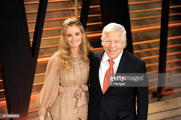 Businessman Robert Kraft and guest arrive to the 2014 Vanity Fair Oscar Party on March 2, 2014 in West Hollywood, California.