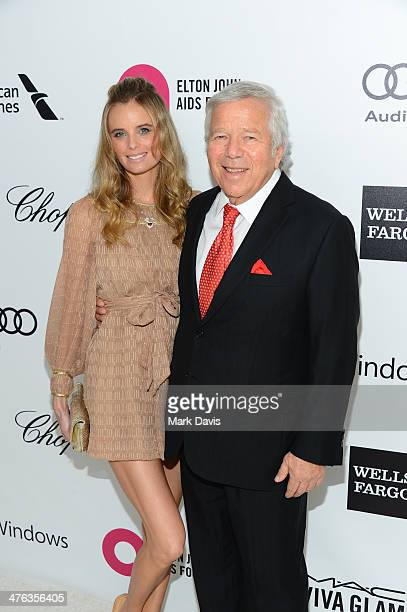 Businessman Robert Kraft and guest attend the 22nd Annual Elton John AIDS Foundation's Oscar Viewing Party on March 2, 2014 in Los Angeles,...