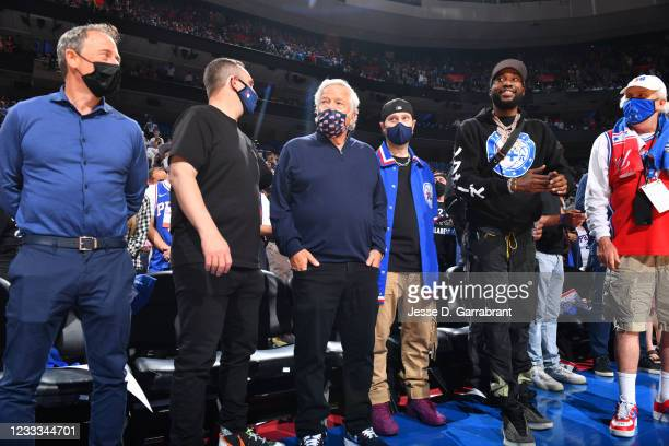 Businessman, Robert Kraft and Rapper, Meek Mill attend a game between the Atlanta Hawks and the Philadelphia 76ers during Round 2, Game 2 of the...