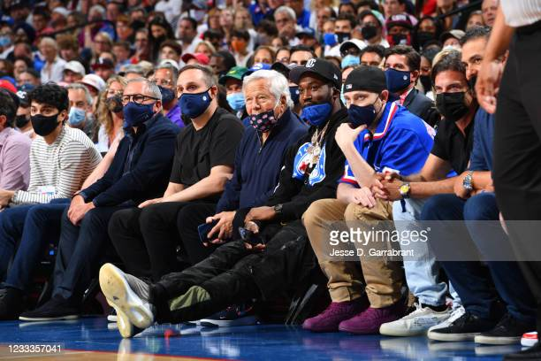 Businessman, Robert Kraft, and Rapper, Meek Mill attend a game between the Atlanta Hawks and the Philadelphia 76ers during Round 2, Game 2 of the...