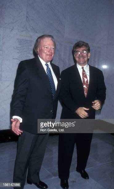 Businessman Roone Arledge and critic Joel Siegel attend Museum of Television and Radio Gala Honoring Sam Donaldson on March 17 1997 at the Waldorf...