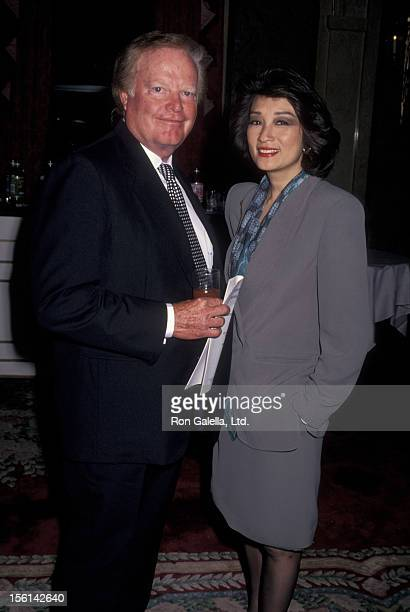 Businessman Roone Arledge and journalist Connie Chung attend Center for Communication Awards Luncheon Honoring Johnny Carson on May 24 1993 at the...