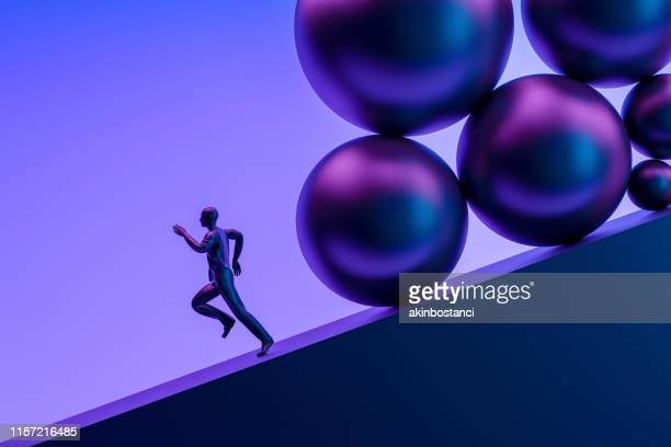 businessman running away from problems - man with big balls stock photos and pictures