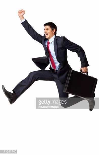 Geschäftsmann läuft mit Aktentasche-isoliert