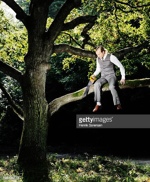 businessman sawing the branch he is occupying - idiots stock pictures, royalty-free photos & images