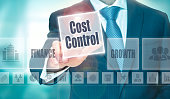 A businessman selecting a Cost Control Concept button