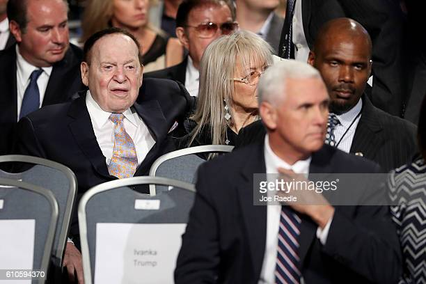 Businessman Sheldon Adelson and Republican Vice Presidential nominee Mike Pence attend the Presidential Debate between Democratic presidential...