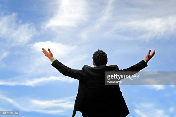 ビジネスマン叫ぶ彼の勝利の世界