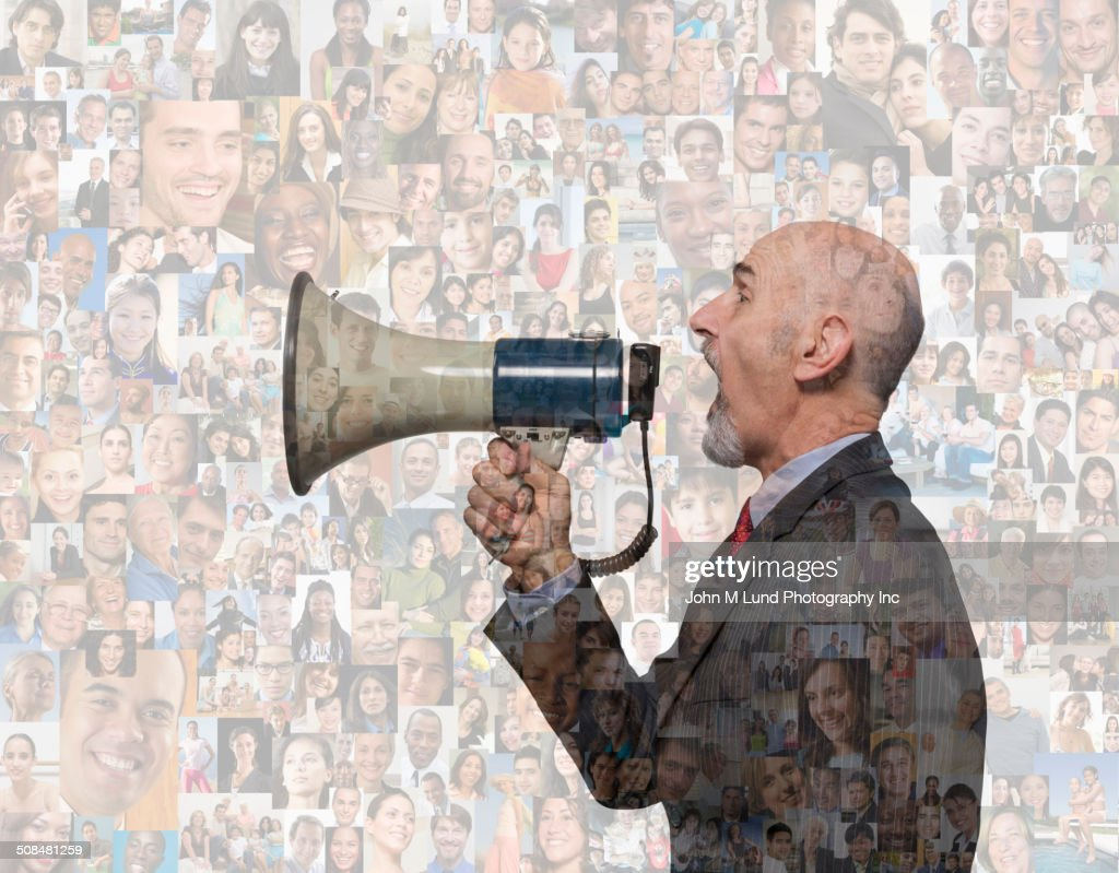 Businessman shouting in megaphone over montage of smiling faces : Stock Photo