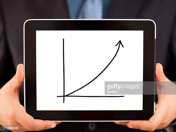 Businessman showing an increasing graph