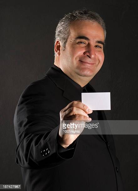 businessman showing business card
