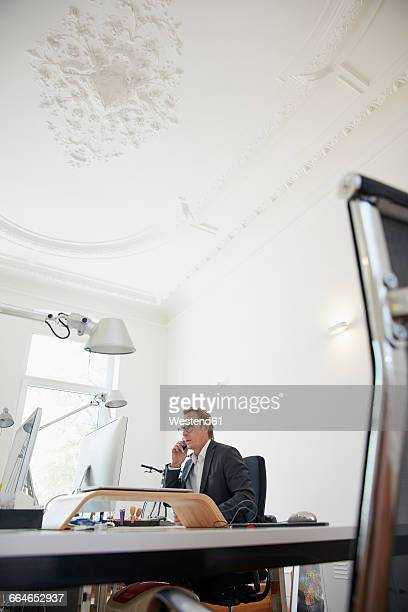 Businessman sitting at desk in an office telephoning