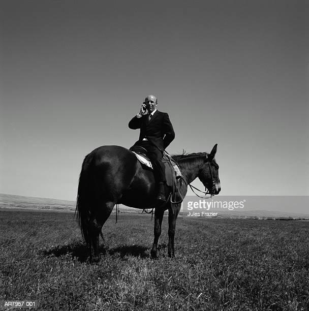 Businessman sitting backwards on mule, using mobile phone (B&W)