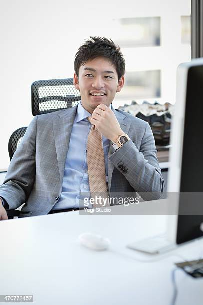 Businessman sitting in a chair in the office