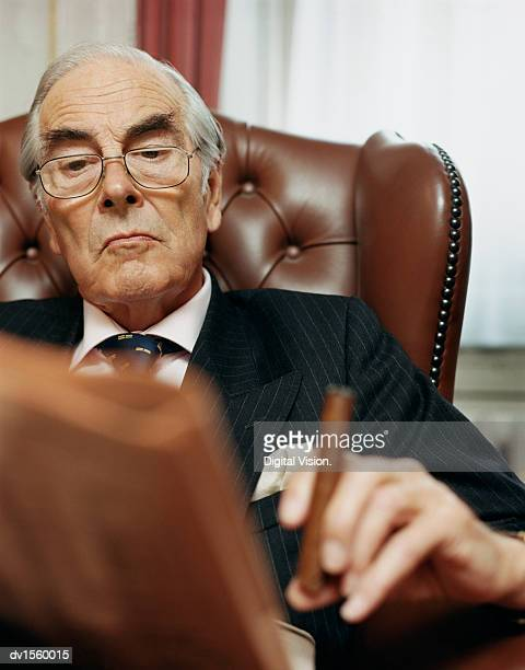 businessman sitting in leather armchair, reading newspaper and holding a cigar - striped suit stock photos and pictures