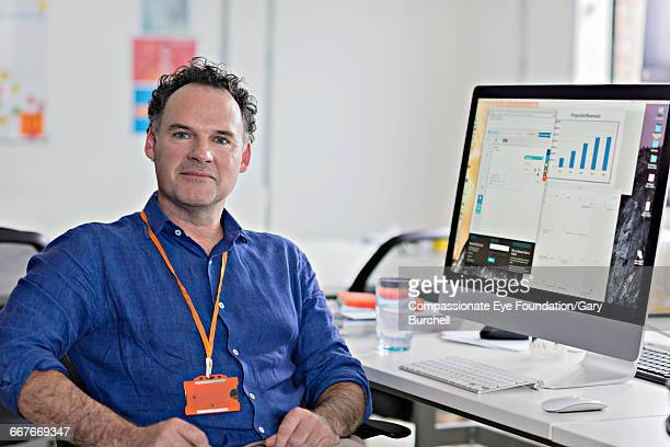 Businessman sitting in tech start-up office
