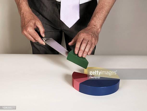 Businessman slicing pie chart