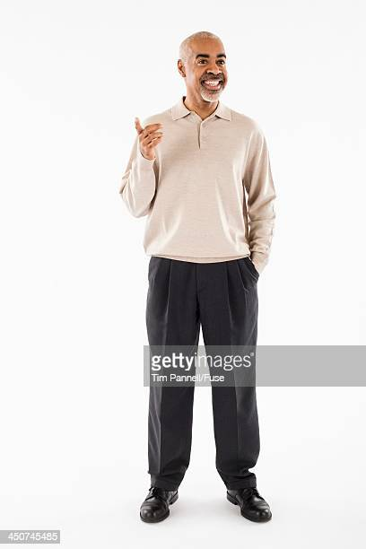 Businessman Smiling and Gesturing