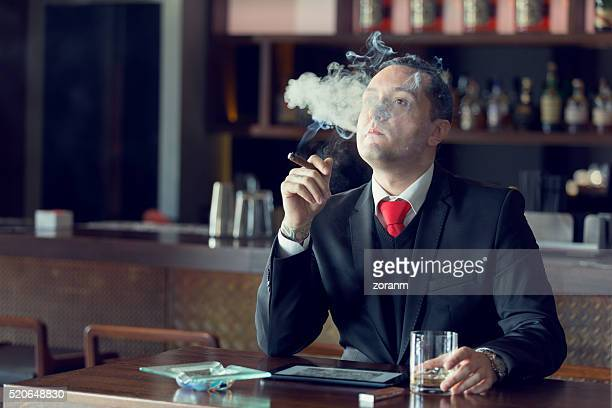 Businessman smoking