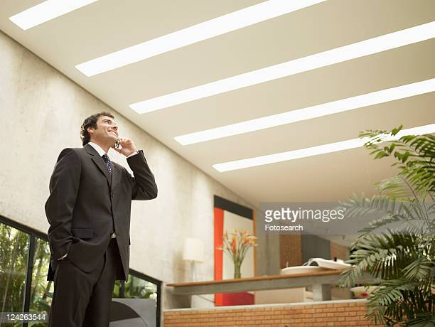 businessman speaking on phone (low angle view) - low angle view photos et images de collection