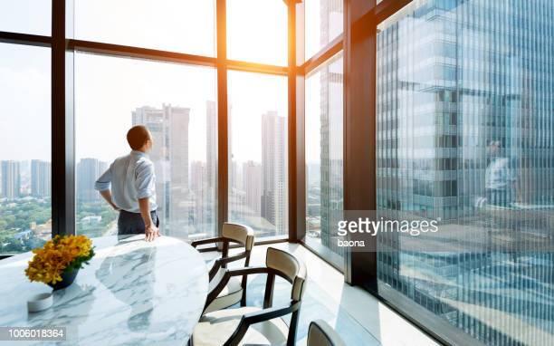 empresário de pé e olhando para a paisagem urbana - table top - fotografias e filmes do acervo