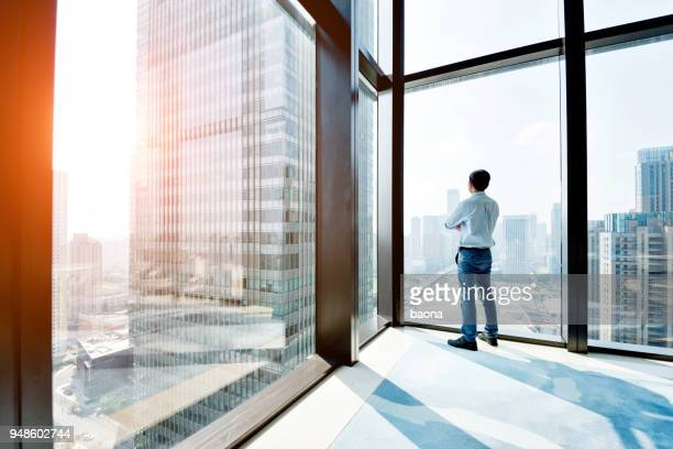 businessman standing and looking at cityscape - looking through window stock pictures, royalty-free photos & images