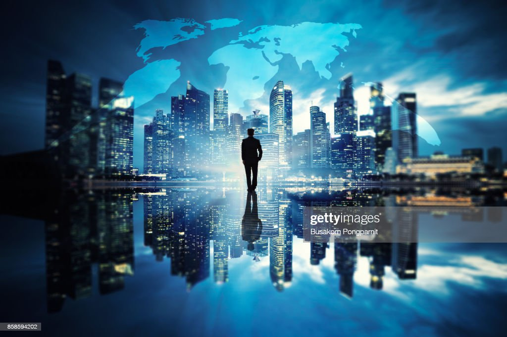 Businessman standing at cityscape urban scene city building concept, Business vision concept : Stock-Foto