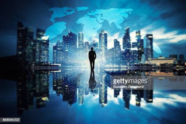Businessman standing at cityscape urban scene city building concept, Business vision concept