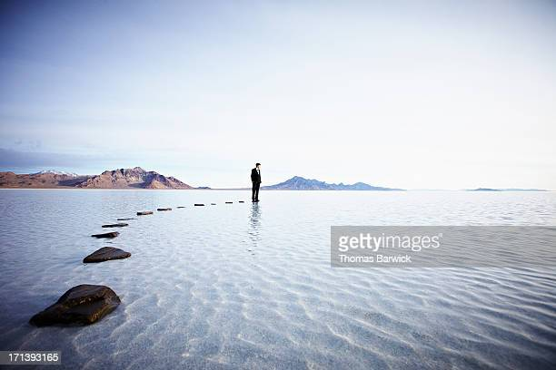 Businessman standing at the end of pathway on lake