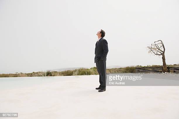 Businessman standing at the poolside with a bare tree in the background