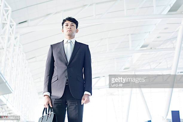 Businessman standing, Fukuoka Prefecture, Kyushu, Japan