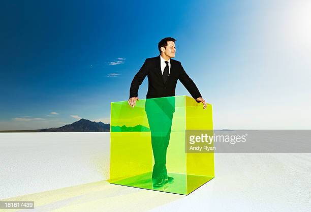 Businessman standing in colored box on salt flats.