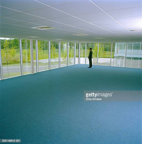 Businessman standing in empty office, looking out window