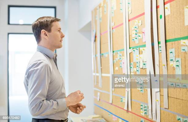 Businessman standing in front of board with paper notes