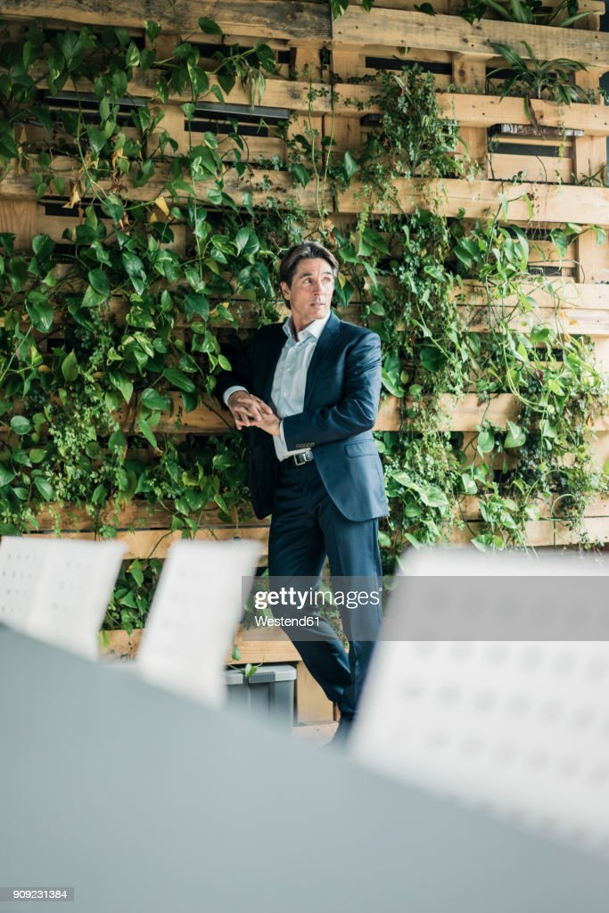 Businessman standing in green office : Stock-Foto