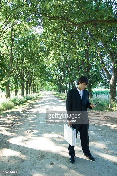 Businessman standing in rural road, holding briefcase and cell phone