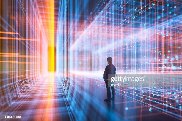Businessman standing in virtual reality display
