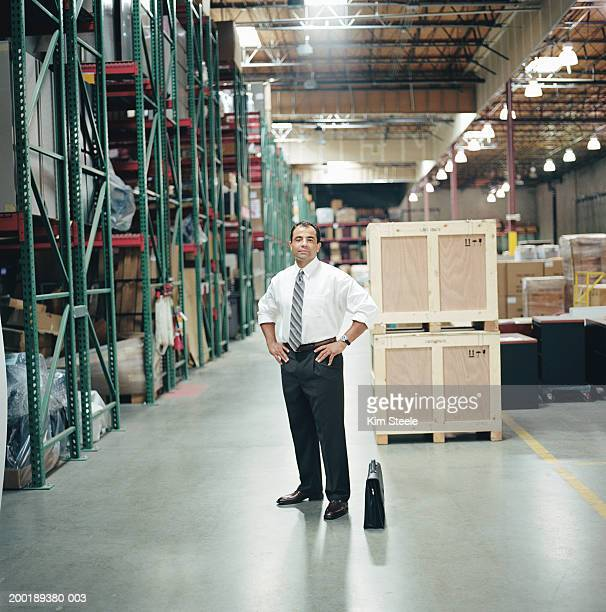 Businessman standing in warehouse, hands on hips, portrait