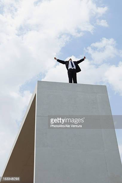 Businessman standing on concrete structure with arms outstretched, low angle view