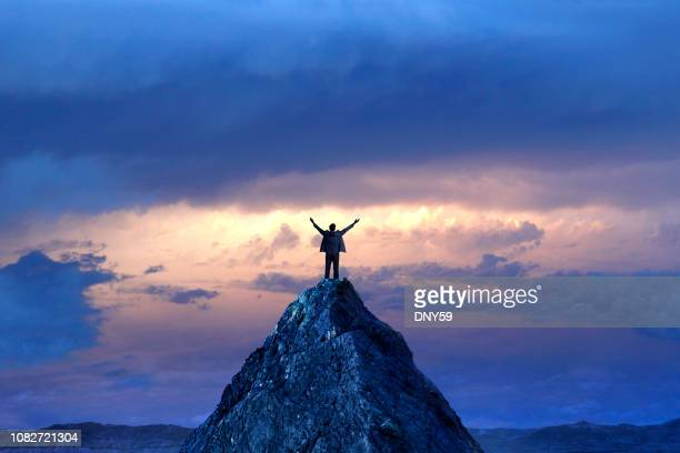 businessman standing on mountain peak - high up stock pictures, royalty-free photos & images