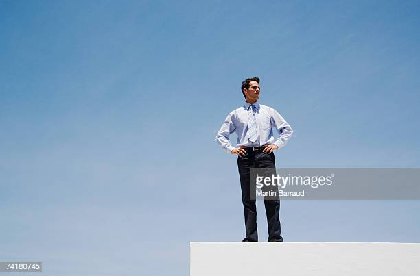 businessman standing on wall outdoors with blue sky - arrogance stock pictures, royalty-free photos & images