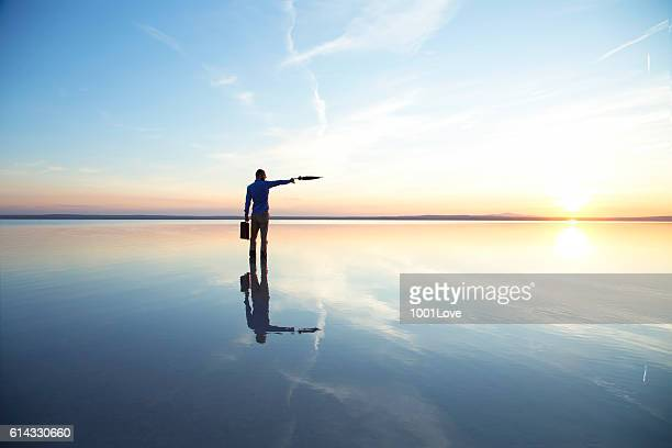 businessman standing with a black umbrella on salt lake - funny turkey images stock photos and pictures