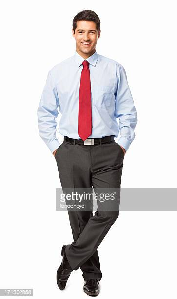 businessman standing with hands in pockets - isolated - overhemd en stropdas stockfoto's en -beelden