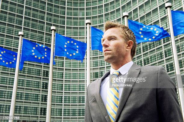 Businessman Stands at EU European Commission Headquarters Building Brussels
