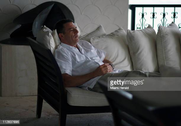 Businessman Steven Neckman relaxes in his home on Fisher Island in Miami Beach Florida The exclusive area of luxury homes dropped in the rankings for...