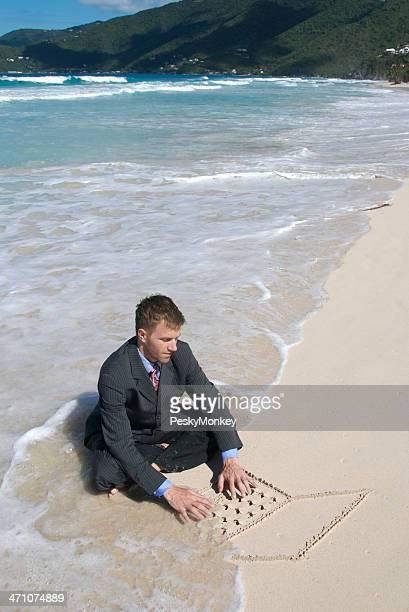 Businessman Surfs the Net Literally
